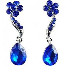 blue drop earrings buy costume jewelry fashion royal blue diamante teardrop drop earrings