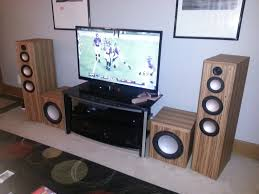 home theater with tower speakers completed swope 3 way towers and diyma r12