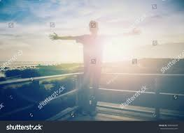 beautiful thanksgiving prayer silhouette man hands rise on beautiful stock photo 588449630