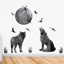 new wolf moon birds wall stickers mural diy animals wall decals new wolf moon birds wall stickers mural diy animals wall decals for living room bedroom and office decoration good quality wall stickers bedroom wall