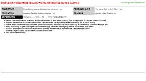 Driver Job Description Resume by Earth Burner Resume Sample