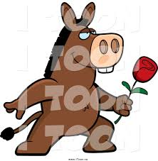 royalty free cartoon of a romantic donkey giving a rose by cory