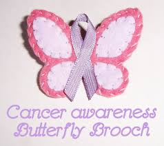 cancer surviors day butterfly ribbon brooch handmade cuddles