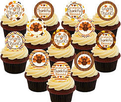 happy thanksgiving edible cupcake toppers pre cut wafer cake