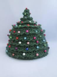 baby beaded christmas tree handmade crocheted beanie hat winter