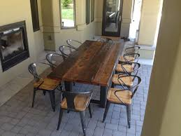reclaimed wood dining table metal legs gallery dining table ideas