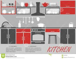 kitchen interior infographic template stock vector image 46358510