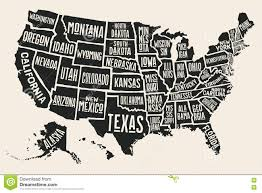 Map With State Names by Poster Map United States Of America With State Names Stock Vector