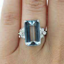 aquamarine and diamond ring 14k white gold 10ct emerald cut aquamarine diamond ring