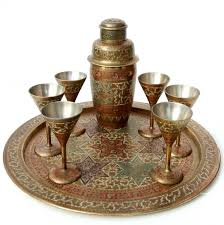 martini shaker set vintage colonial 1930s indian brass etched cocktail shaker set on
