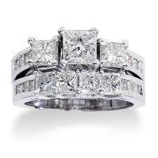 overstock wedding ring sets 14k white gold 3 5ct tdw princess cut diamond 3 bridal ring