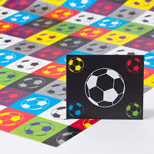 football wrapping paper multicoloured football print luxury wrapping paper gift tag