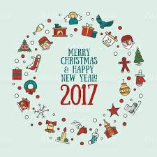 merry christmas and happy new year flat design card illistration