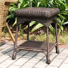 Outdoor Metal Side Table Amazon Com Jeco Wicker Patio End Table In Espresso Patio Side