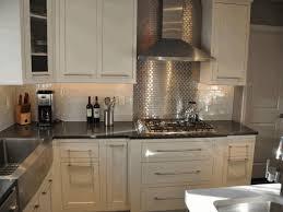 stainless steel mosaic backsplash dusty white cabinet glossy dark
