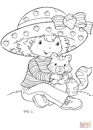 strawberry shortcake with custard coloring page free printable