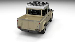land rover pickup truck land rover defender 110 double cab pick up w interior 3d model