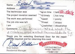 Overhead Door Repair Houston by Customer Testimonials Overhead Door Company Of Houston