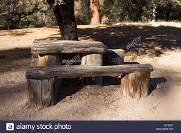rustic camp site rough cut wood table pueblo park campground