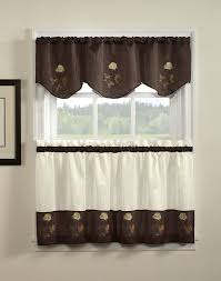 Kitchen Valance Ideas Kitchen Adorable Chocolate Rose Embroidered Window Valance