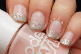 wedding nails idea silver lace she who does nails