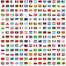 alphabetically sorted flags of the world 3x2 with official