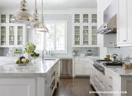 White Carrera Marble Kitchen Countertops - bathroom glamorous kitchen with classic white cabinets also