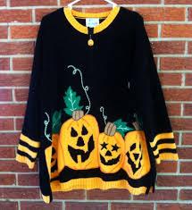 quacker factory ugly halloween sweater womens 1x xxl pumpkins