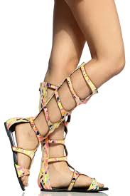 abstract print cut out knee high gladiator sandals cicihot