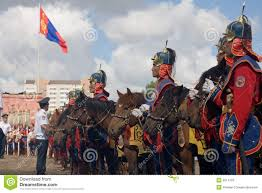 Cavalry Flag Mongolian Cavalry And Mongolian Flag Editorial Stock Photo Image
