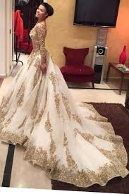big wedding dresses gold lace appliques sleeves v neck gown tulle wedding