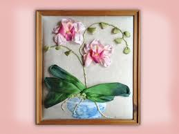 silk ribbon how to embroider a silk ribbon orchid in blue and white pot