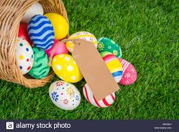 easter egg sale easter eggs sale coupon voucher tag on fresh green grass stock