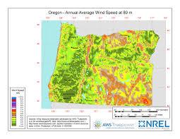 map of oregon i 5 windexchange oregon 80 meter wind resource map
