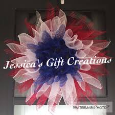 made to order patriotic sunflower mesh wreath 4th of july red
