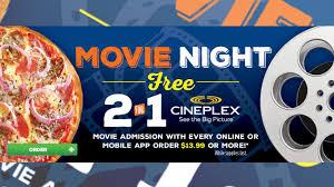 cineplex online pizza pizza offers 2 for 1 cineplex movie admission promotion canadify