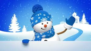 winter landscape snow is falling the snowman in hat is writing a