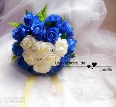 wedding flowers blue and white blue with white roses wedding bouquet diameter 28 cm wedding bouquet