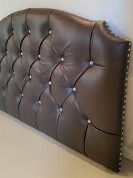 Upholstered Nailhead Headboard by Full Size Headboard Tufted Upholstered Faux Leather Gray Crystal