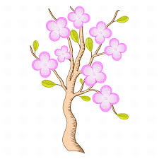 outline of blossoming sakura tree vector clipart image 16892