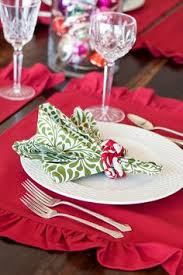 christmas napkin rings table linens soft blue burlap placemats with ruffles on side matching burlap