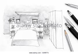 freehand pencil drawing bedroom interior stock photos u0026 freehand