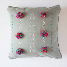 yarn embroidered pillows design improvised