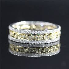yellow gold wedding band with white gold engagement ring bridal wedding ring set diamond pave eternity band diamond