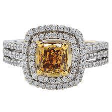 vintage verlobungsringe 1 23 carat cert fancy color two color gold engagement