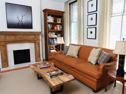Transitional Living Rooms by Living Room Corner Wood Shelves With Rustic Wood Coffee Table For