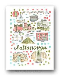 map of chattanooga tn map print by henson