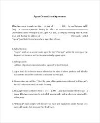 commission sales agreement sample commission agreement template