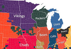 Map Of The Midwest Nfl Fan Map Favorite Team By County Business Insider