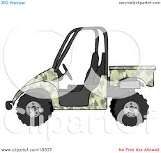 Clipart Illustration Of A Military Green Camouflage Utv Truck By